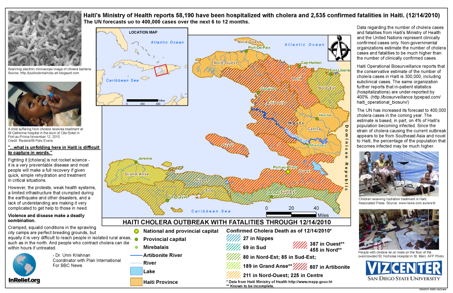 Haiti outbreak map