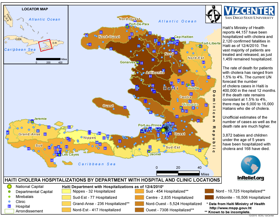Haiti Cholera Hospitalizations with Locations as of 12/14/2010