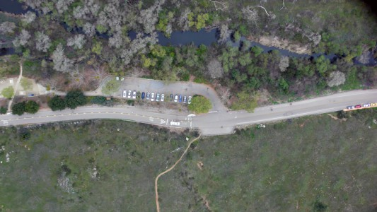 aerial lookdown at ground from UAV