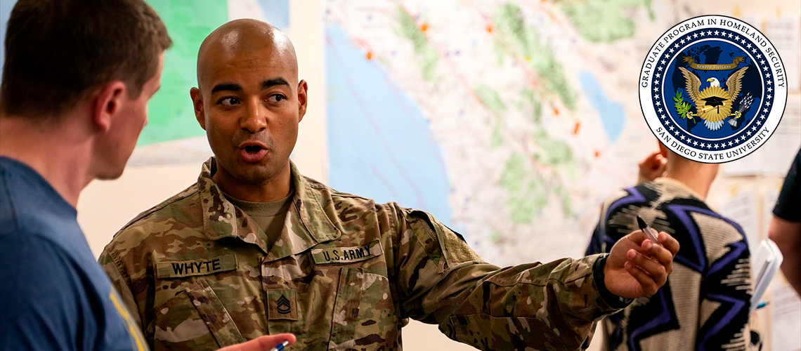 U.S. Army officer talking to a man that is facing him. Map in distant background with SDSU Graduate Program in Homeland Security Logo.